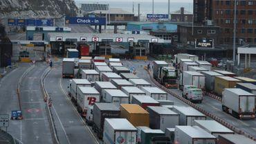 Des camions de transport font la queue au port de Douvres, le 11 septembre 2019