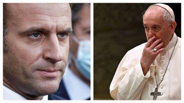Emmanuel Macron et le pape François (illustration)