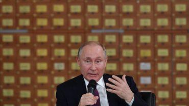 Le président russe Vladimir Poutine le 19 mars 2019 à Simferopol, Crimée
