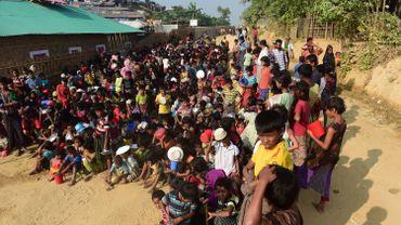 Les réfugier Rohingyas du centre de réfugiés de Thankhali