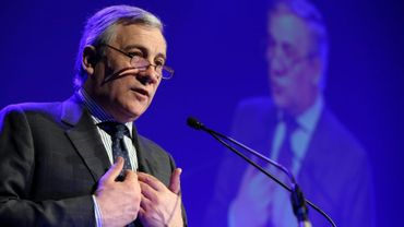 Antonio Tajani, candidat des conservateurs pour la présidence du Parlement européen à La Louvière, en Belgique, le 18 février 2014