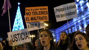 Des manifestantes à Madrid à l'occasion de la Journée internationale pour l'élimination de la violence à l'égard des femmes, le 25 novembre 2017