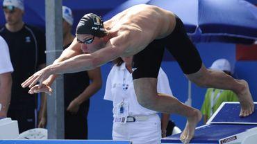 Dieter Dekoninck et le relais belge en finale du relais 4x100 m nage libre