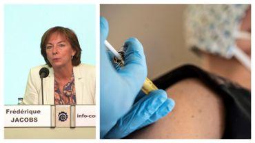 Frédérique Jacobs ce 28 août à Bruxelles, et une vaccination (image d'illustration)