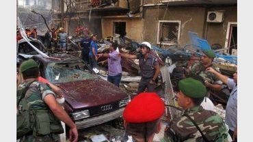 Les forces de sécurité en renfort après l'explosion d'une bombe dans le secteur est de Beyrouth, le 19 octobre 2012