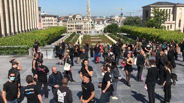 Plusieurs artistes se sont réunis au Mont-des-Arts à Bruxelles pour une action symbolique alors que ce tient une séance à la Chambre concernant le secteur culturel.