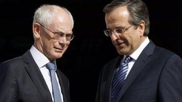 Le président du Conseil européen, Herman Van Rompuy, et le Premier ministre grec Antonis Samaras le 7 septembre 2012 à Athènes
