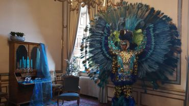 Le salon bleu du château de Modave