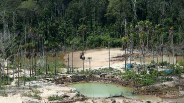 Déforestation dans l'Amazonie péruvienne, liée aux mines illégales d'or, en mars 2019