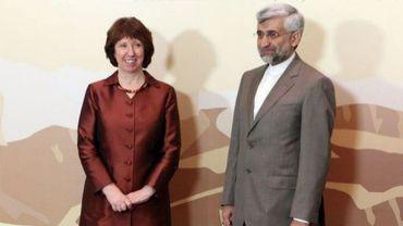 La chef de la diplomatie européenne Catherine Ashton et le chef des négociateurs iraniens pour le nucléaire, Saïd Jalili, le 26 février 2013 à Almaty, au Kazakhstan