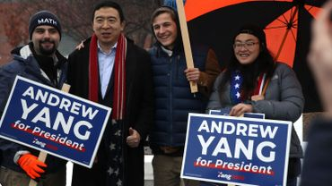 Andrew Yang Visits Polling Location On Morning Of New Hampshire Primary