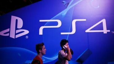 Le logo de la console Playstation 4 (PS4) de Sony lors de la Madrid Games Week, le 3 octobre 2015