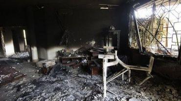 L'intérieur du consulat américain à Benghazi, le 13 septembre 2012, deux jours après l'attaque