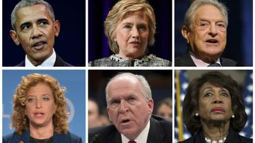 Combinaison créée le 24 octobre 2018 montrant Barack Obama, Hillary Clinton,  George Soros, Debbie Wasserman Schultz et Maxine Waters