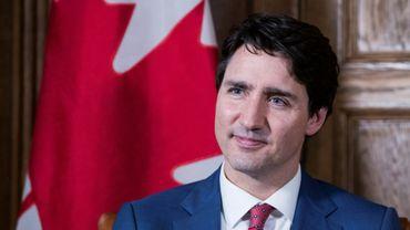 Le Premier ministre canadien Justin Trudeau répond aux questions de journalistes de l'AFP à Ottawa, le 9 mai 2018.