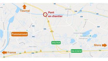Travaux à hauteur du pont de Pommeroeul sur l'E42/A16