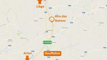 Du jeudi 8 novembre au jeudi 15 novembre, l'aire autoroutière des Nutons (Houffalize) sera fermée à la circulation en direction d'Arlon.