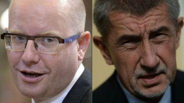 Le Premier ministre tchèque, Bohuslav Sobotka, et le milliardaire Andrej Babis, au ministère des Finances.