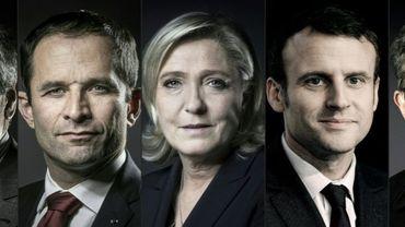 Montage photo des candidats François Fillon, Benoît Hamon, Marine Le Pen, Emmanuel Macron et Jean-Luc Mélenchon, créé le 21 février 2017