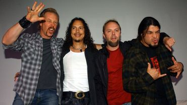 Members of the US heavy metal band Metallica, from L-R James Hetfield, Robert Trujillo, Lars Ulrich and Kirk Hammett pose for photos