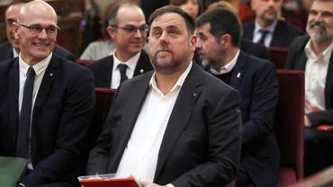 L'ancien vice-président régional Oriol Junqueras et d'autres leaders indépendantistes lors de leur procès, le 12 février 2019 à Madrid