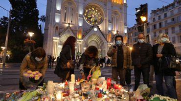 Hommage devant la basilique Notre-Dame de l'Assomption à Nice, le 31 octobre 2020