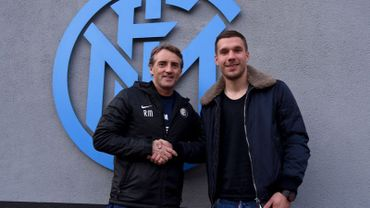 Roberto Mancini et Lukas Podolski