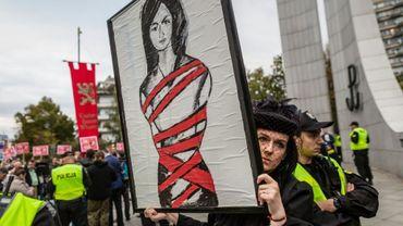 Manifestation en faveur de l'avortement, le 22 septembre 2016 devant le Parlement, à Varsovie, en Pologne