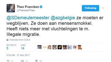 """Theo Francken exige que MSF arrête ses sauvetages en mer: """"C'est de la traite d'être humain"""""""