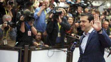 Alexis Tsipras avant la réunion des chefs d'Etat et de gouvernement de la zone euro, le dimanche 12 juillet.