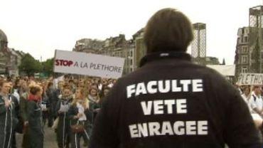 Bruxelles: manifestation des étudiants en médecine vétérinaire au Conseil des recteurs