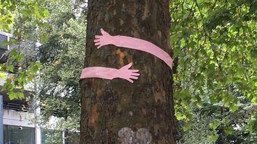 Des  bras en papier rose pour réaffirmer la position du collectif de défense des arbres du parc Léopold: n'abattez pas nos arbres. Une action en prélude à la réunion d'information de mercredi soir sur le projet de centre commercial à Namur.