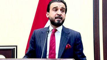 Capture d'écran d'une vidéo fournie par le Parlement irakien montrant Mohammed al-Halboussi lors de son élection à la tête de cette assemblée le 15 septembre 2018 à Bagdad