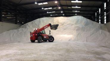 Avec le gel et la neige, les camions de sel se succèdent au hall de stockage d'Amay (1)