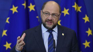 Martin Schulz, le 18 février, lors d'une conférence de presse à Bruxelles.