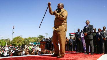 Le président soudanais Omar el-Béchir lors d'un discours à Khartoum le 9 janvier 2019