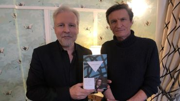 Thierry Bellefroid (gauche) et Marcus Malte (droite) sur le tournage de Sous Couverture
