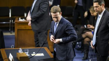 MarkZuckerberg, ici au Sénat américain le 10 avril 2018, avait témoigné  pendant dix heures devant les élus américains le mois dernier