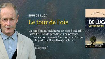 """L'écrivain italien Erri De Luca pour son roman """"Le tour de l'oie"""" (Gallimard)."""