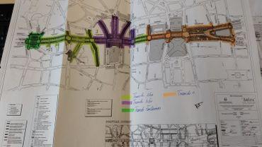 Voici les différentes étapes d'aménagement du piétonnier. La partie orange doit être achevée pour fin 2018. Certaines par contre, comme la place Fontainas (en vert) ou les abords de la Bourse (en mauve) attendent toujours leurs permis et il est donc difficile, selon Beliris, d'en évaluer la fin.