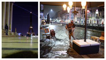 Paris sous couvre-feu et patron de restaurant rangeant sa terrasse à Milan, ce 22 octobre