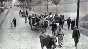Des réfugiés belges sur les routes de d'exode en 1914