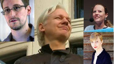 Quatre lanceurs d'alerte: Assange, Snowden, Harrison et Manning