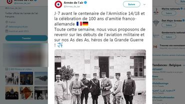 "France: la bourde de l'Armée de l'Air qui célèbre ""100 ans d'amitié franco-allemande"""
