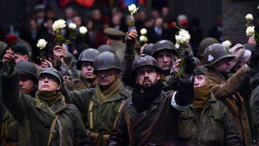 L'illustration montre la commémoration du 75e anniversaire de la Bataille des Ardennes, le lundi 16 décembre 2019, au Mémorial de Mardasson à Bastogne.