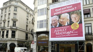 Une affiche pour Ashley Madison lors de son lancement à Bruxelles en 2012.