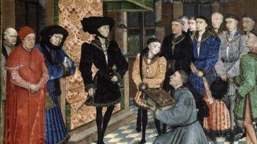 Jean Wauquelin présente son ouvrage à Philippe le Bon. Miniature de Rogier van der Weyden dans Les Chroniques de Hainaut.