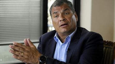 L'ex-président de l'Equateur Rafael Correa lors d'une interview avec l'AFP à Quito, le 19 janvier 2018