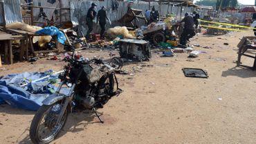 Les lieux de l'explosion de deux bombes à Abuja, photographiés 3 octobre 2015.