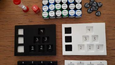 Premier prototype du jeu Association 10 Dés, sur le principe du Print and Play